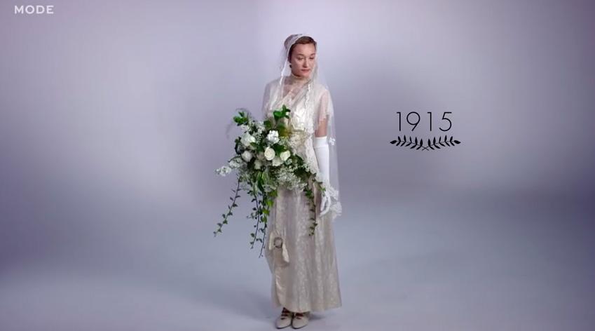 az 1915-os menyasszonyi ruha trend