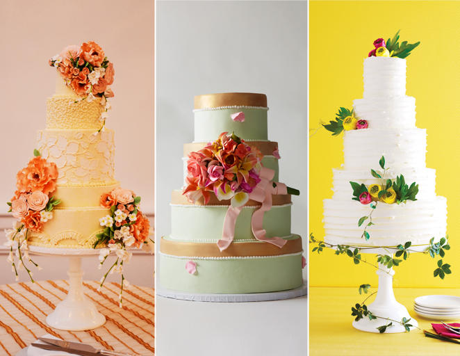 Virágos esküvői torta