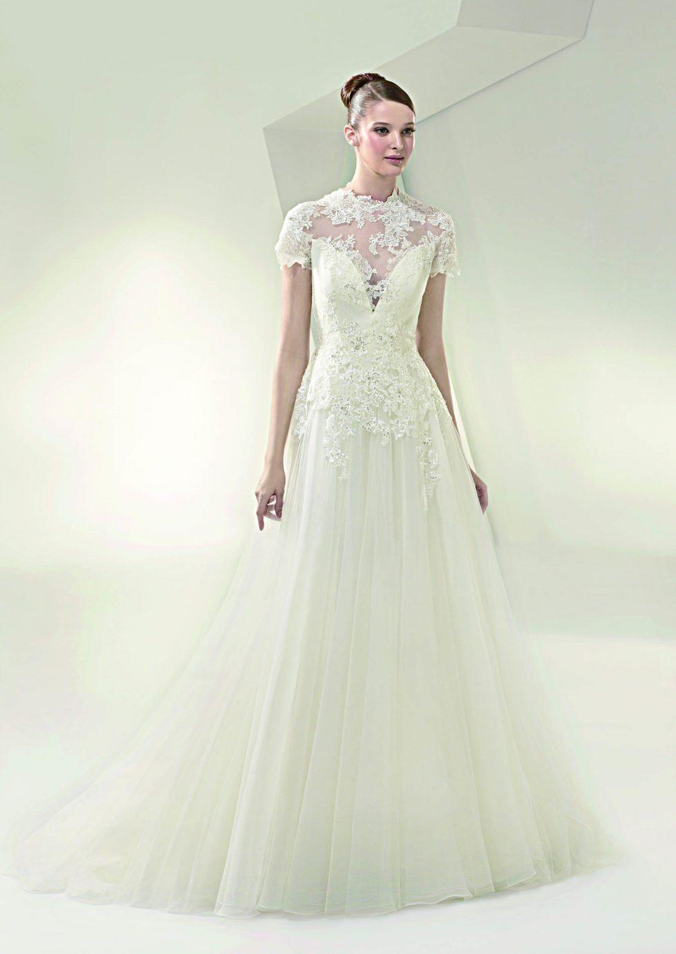 Csipke, rövid ujjas Beautiful BT1401 esküvői ruha, az ujjas esküvői ruhát kereső menyasszonyoknak.