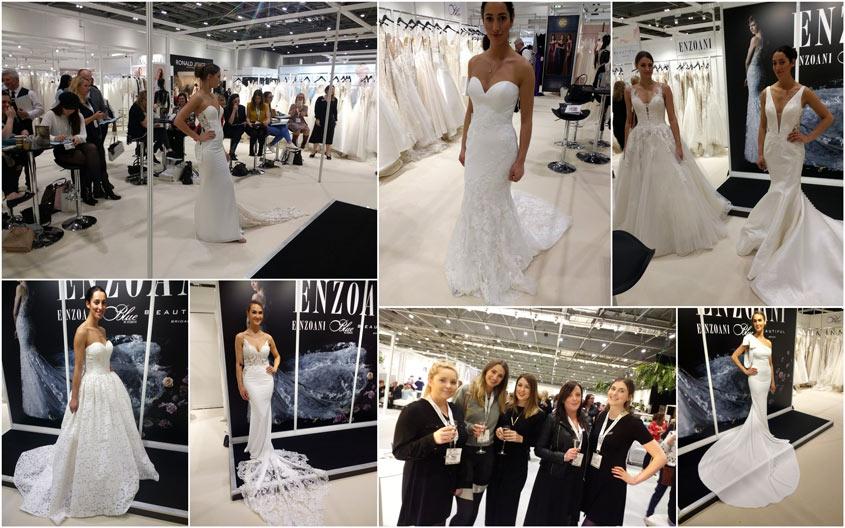 Enzoani esküvői ruha kollekciók a londoni esküvői ruha hét kiállításon.