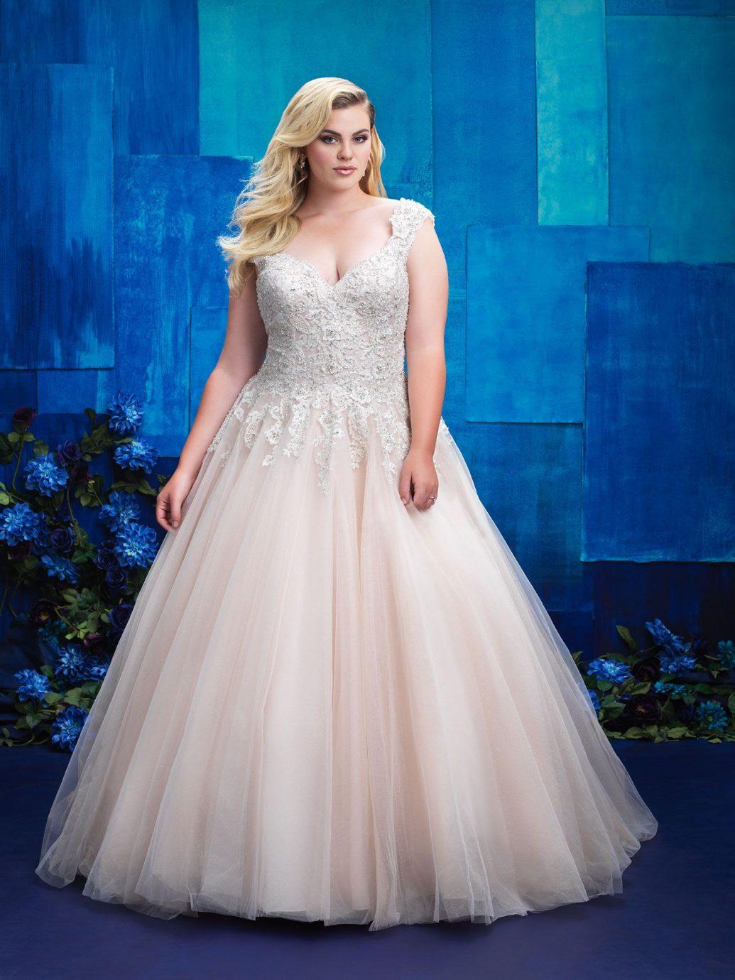 Allure Bridals hercegnős fazonú esküvői ruha, nagy méretben.